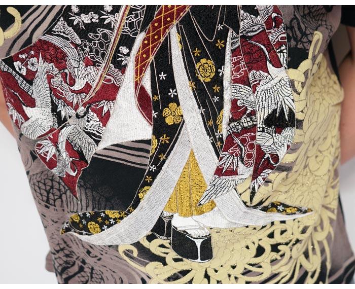 華鳥風月 かちょうふうげつ 和柄 Tシャツ 半袖 メンズ 花魁 菊 刺繍 3002106 送料無料【華鳥風月から新作Tシャツが登場!!】