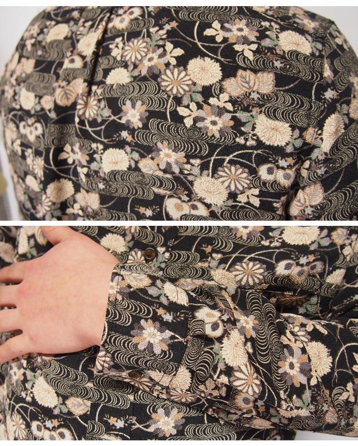 【小さいサイズのみ在庫あり】衣櫻[ころもざくら] 観世水文様 レギュラーシャツ 和柄長袖シャツ/日本製/二越縮緬素材/SA1247/送料無料