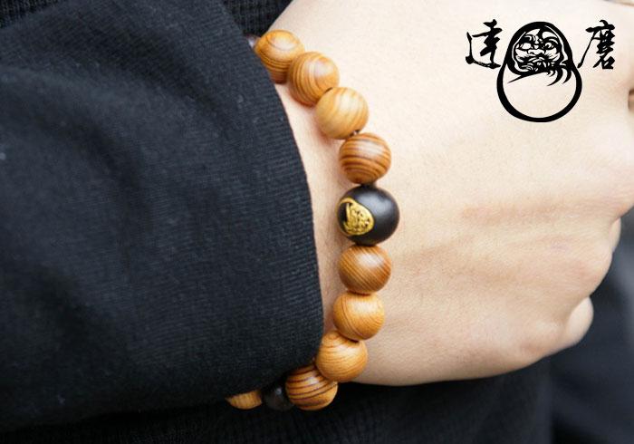 達磨[だるま]腕輪念珠/屋久杉/数珠ブレスレッド/日本製/DAJ0003-09【屋久杉を使った達磨の腕輪念珠ロープ!】