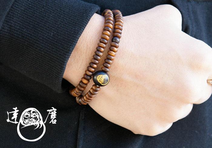 達磨[だるま]腕輪念珠 栴檀/数珠/日本製/DAJ0003-12/送料無料【栴檀を使った達磨の腕輪念珠ロープ!】