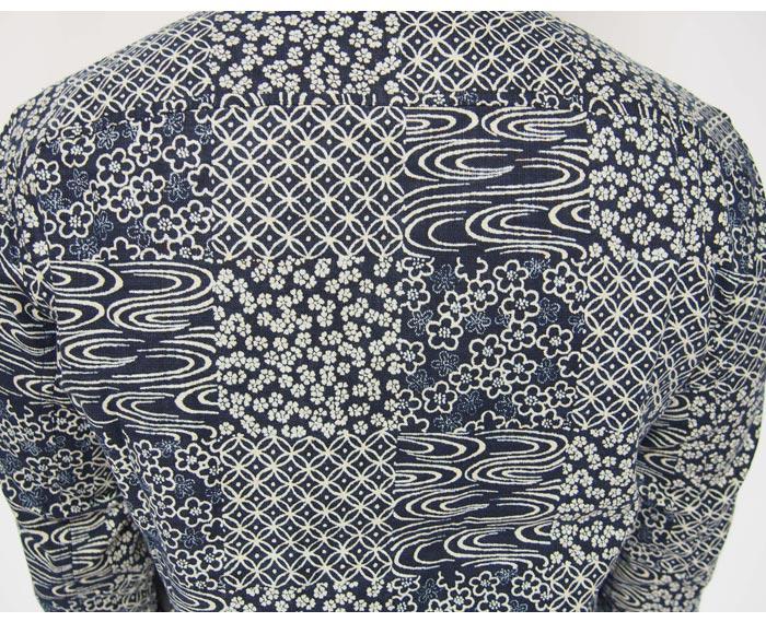 衣櫻[ころもざくら] 藍染調 パッチワーク プリント ワークシャツ 和柄長袖シャツ/日本製/SA-1220/送料無料【衣櫻から新作和柄長袖シャツが登場!!】