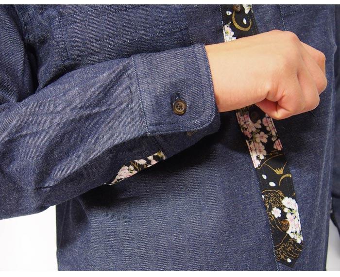 衣櫻[ころもざくら] 8ozDENIM×金粉着物文様 切換えワークシャツ 和柄長袖シャツ/日本製/SA-1227/送料無料【衣櫻から新作和柄長袖シャツが登場!!】