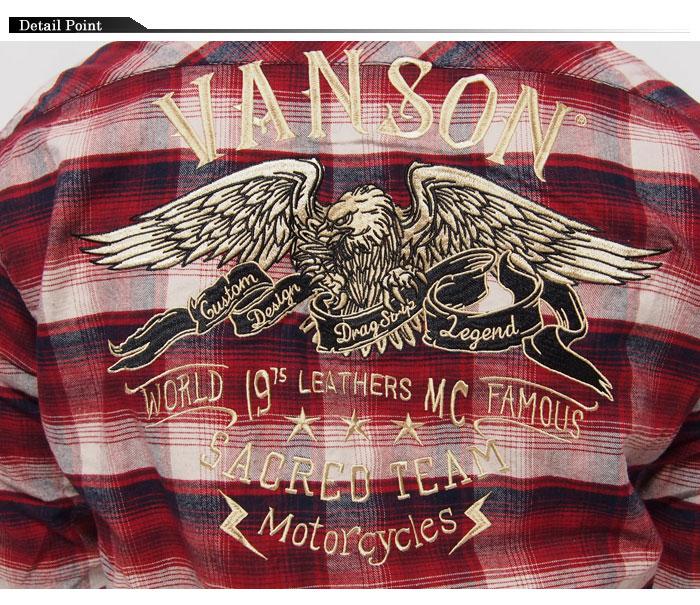 【残りMサイズ以下セール】定価14080円を50%OFFセール[SALE] VANSON[バンソン] フライングイーグル刺繍 チェック 長袖シャツ/NVSL-509/送料無料