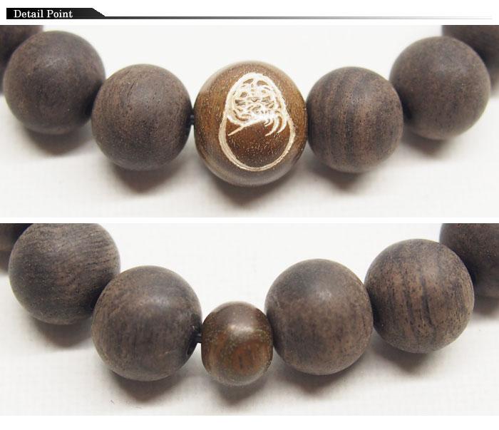 達磨[だるま]腕輪念珠 黒檀/数珠/日本製/daj000307【黒檀を使った達磨の腕輪念珠ロープ!】