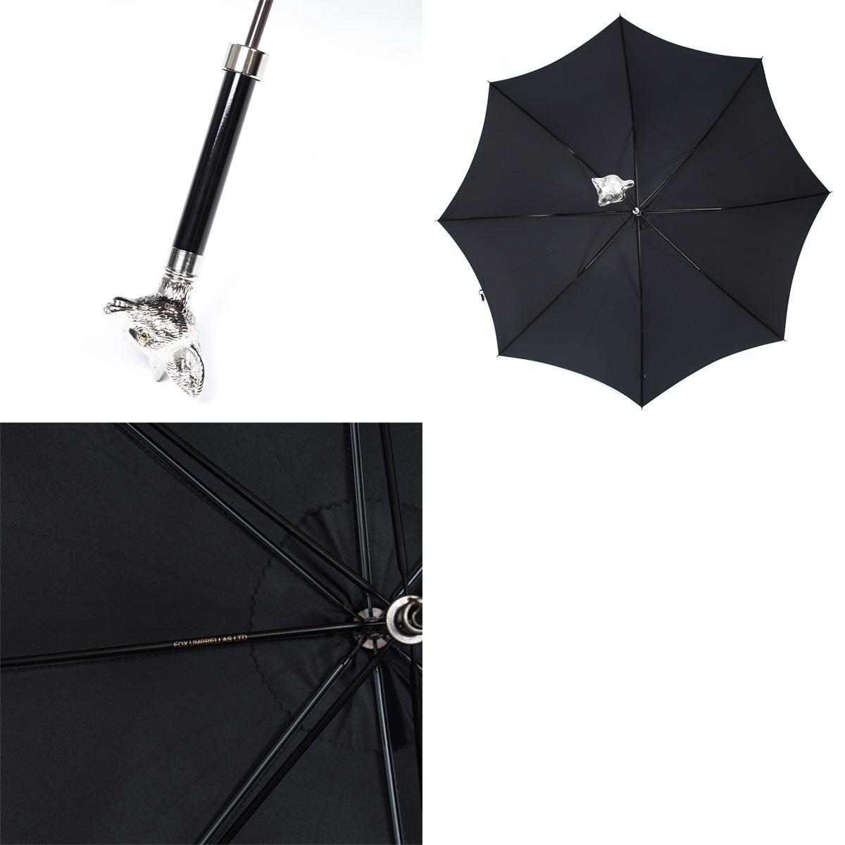 【タイムセール ACCS】FOX UMBRELLAS フォックスアンブレラズ 傘/GT29 Nickel Finish Animal Head Handle Umbrella メンズ