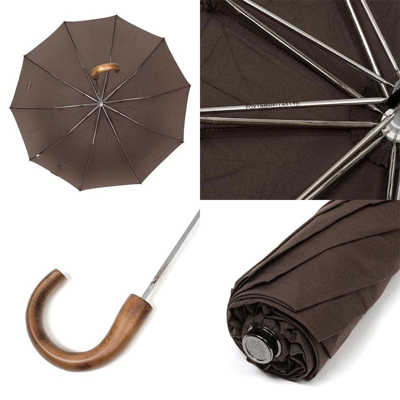 FOX UMBRELLAS フォックスアンブレラズ 折りたたみ傘/TEL1 Brown Maple Crook Handle メンズ