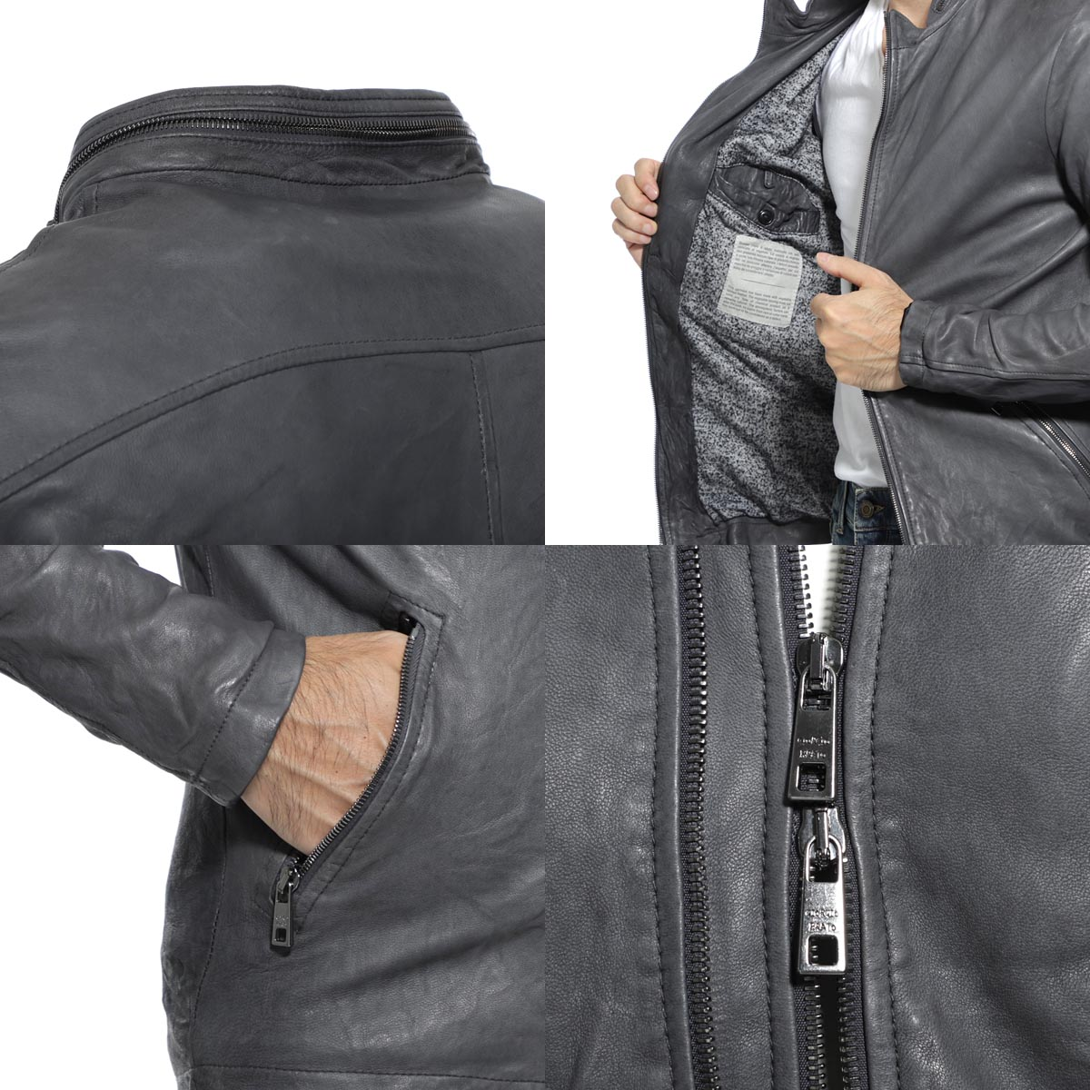 【アウトレット】GIORGIO BRATO  ジョルジオブラット ライダースジャケット/レザージャケット ブルゾン/VERA PELLE メンズ