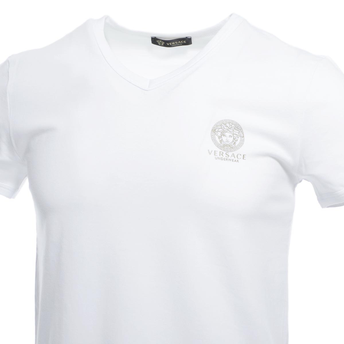 VERSACE ヴェルサーチェ Vネック Tシャツ/T-SHIRT MC SCOLLO V INTIMO UOMO【返品交換不可】 メンズ