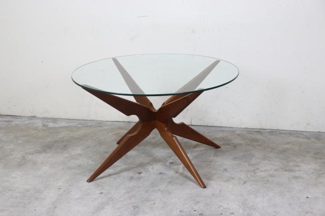 デンマーク ガラストップコーヒーテーブル 北欧 ヴィンテージ  ち20-1