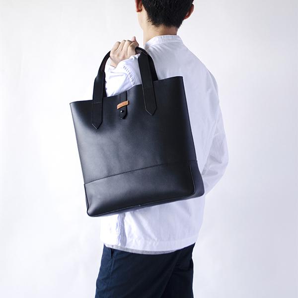 レザートートバッグ 縦型 BLAKE ブレイク ブラック 黒
