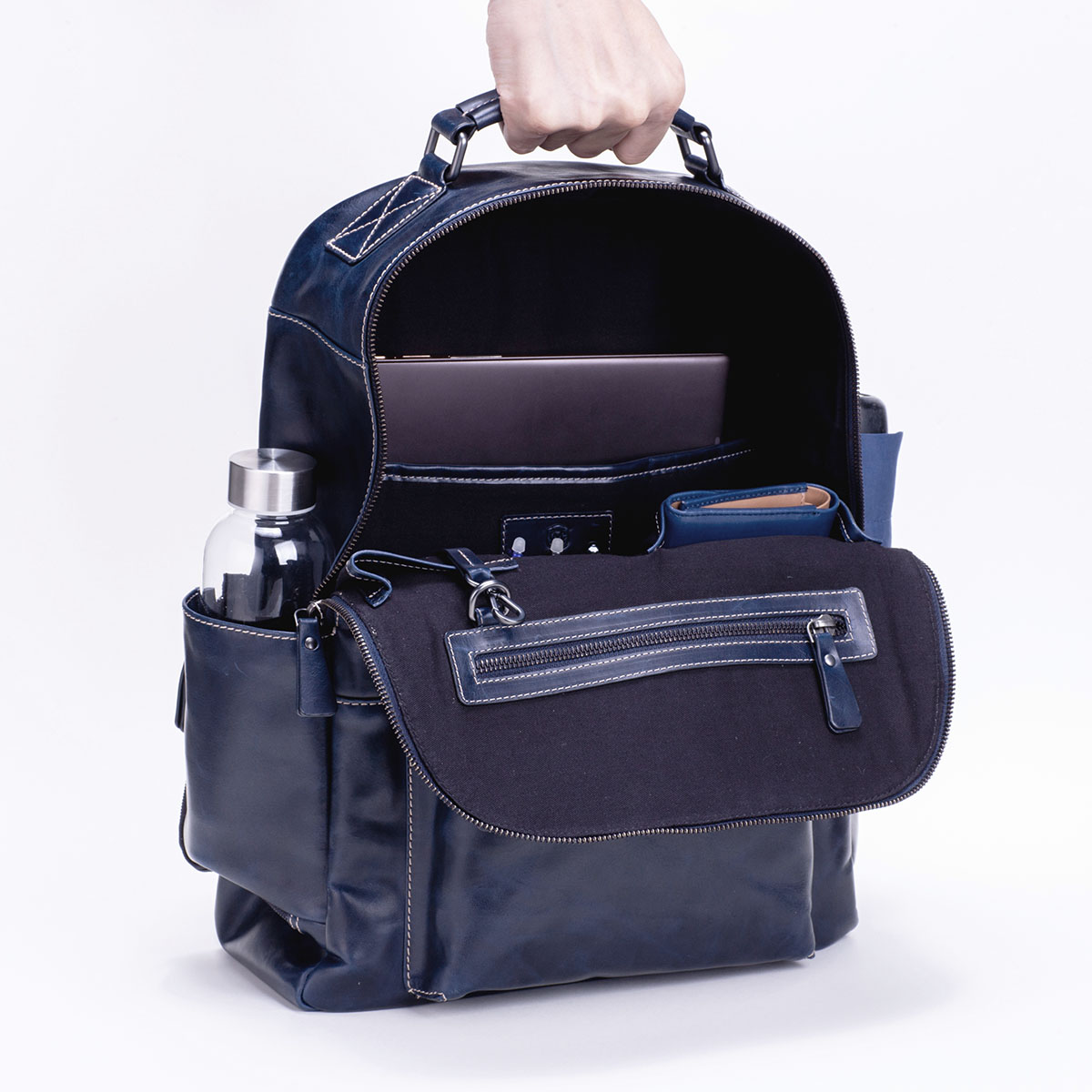 レザーリュック メンズビジネス DESMOND-II デスモンド2 ネイビー 紺