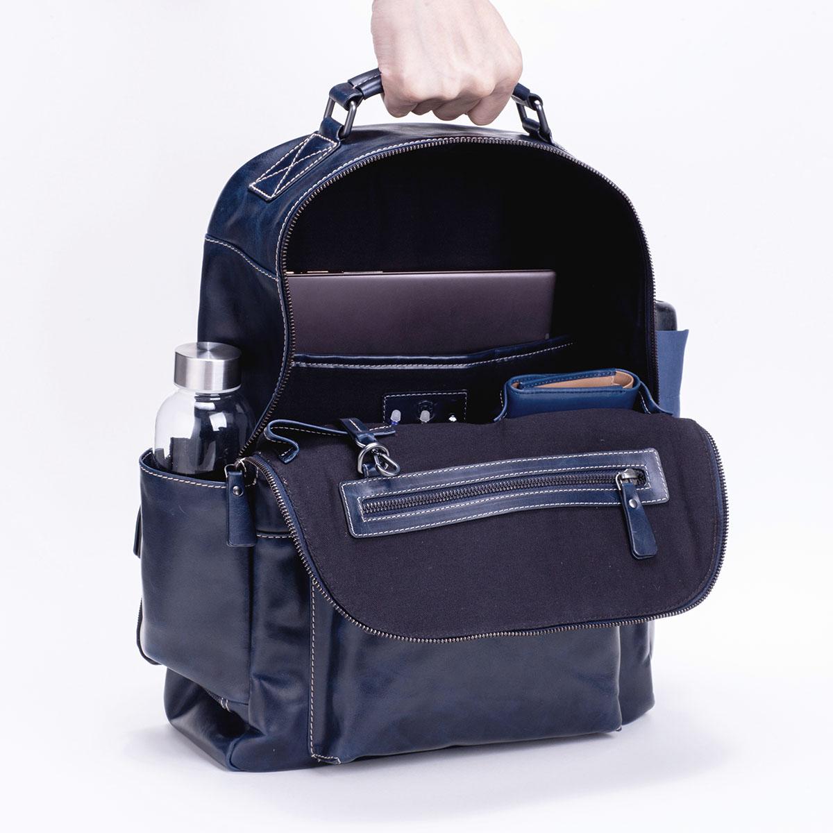ビジネスレザーリュック メンズ DESMOND-II デスモンド2 ネイビー 紺