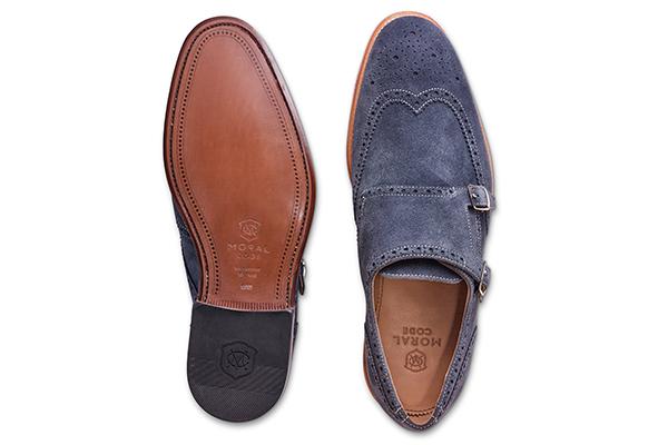 革靴 ダブルモンクストラップ ブルースエード AUGUST オーガスト メンズシューズ