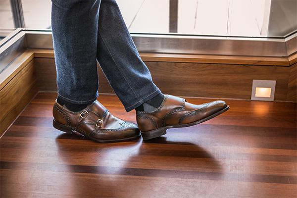 革靴 ダブルモンクストラップ AUGUST オーガスト ブラウン グッドイヤーウェルト メンズシューズ