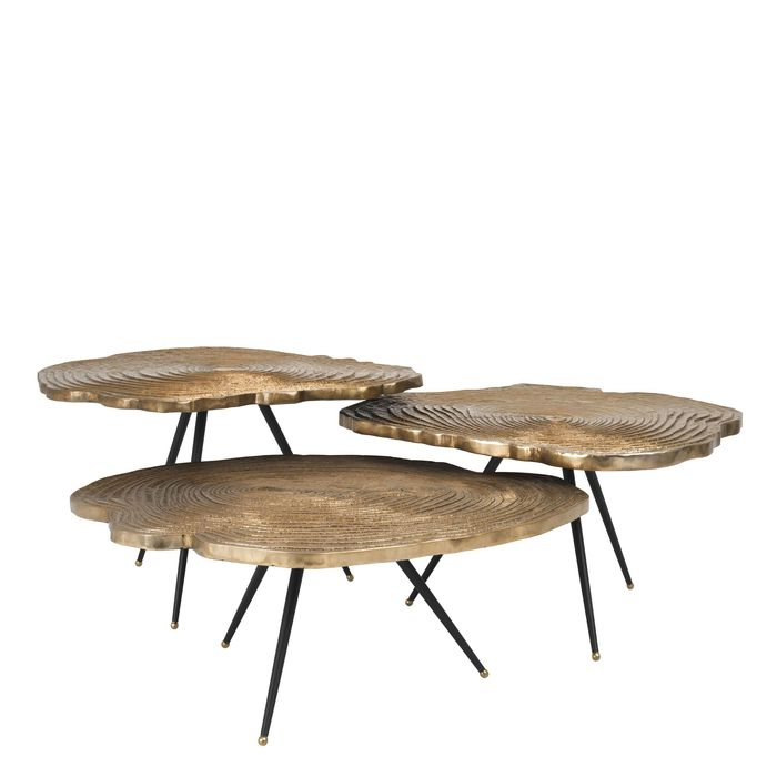 EICHHOLTZ_Coffee Table Quercus brass finish set of 3