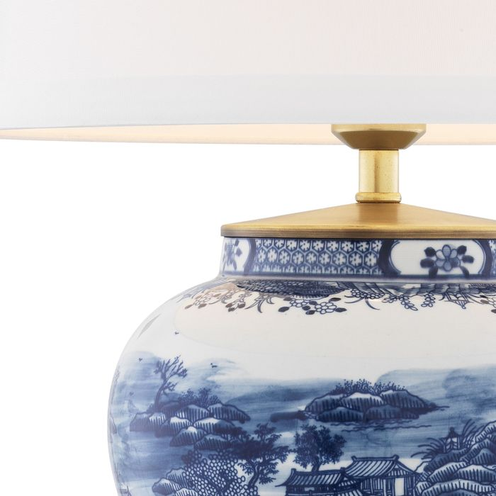 EICHHOLTZ_Table Lamp Chinese Blue ceramic incl shade