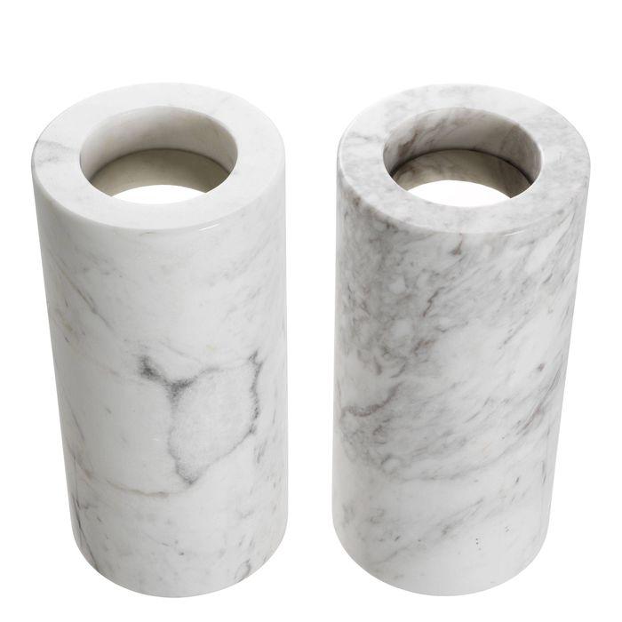 EICHHOLTZ_Tealight Holder Tobor L white marble set of 2
