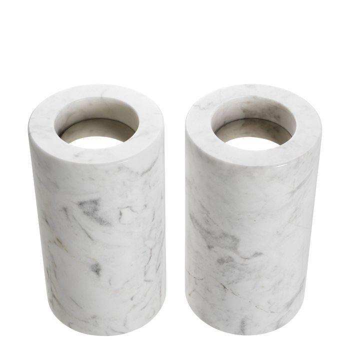 EICHHOLTZ_Tealight Holder Tobor M white marble set of 2