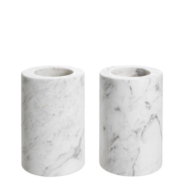 EICHHOLTZ_Tealight Holder Tobor S white marble set of 2