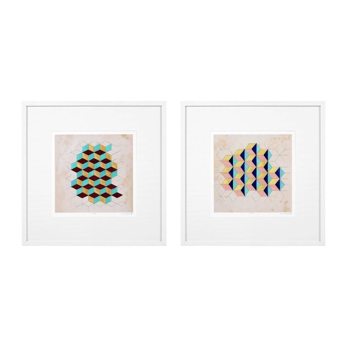 EICHHOLTZ_Prints EC287 EC288 Geometric Pattern Play set of 2