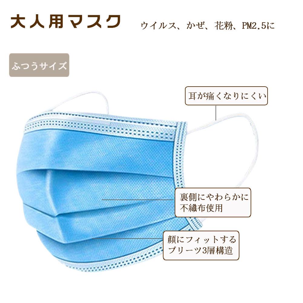 子供用マスク 大人用マスク 不織布マスク プリーツ  使い捨てマスク 50枚/100枚 mask 3層構造 フェイスマスク PM2.5対応 花粉対策 防水