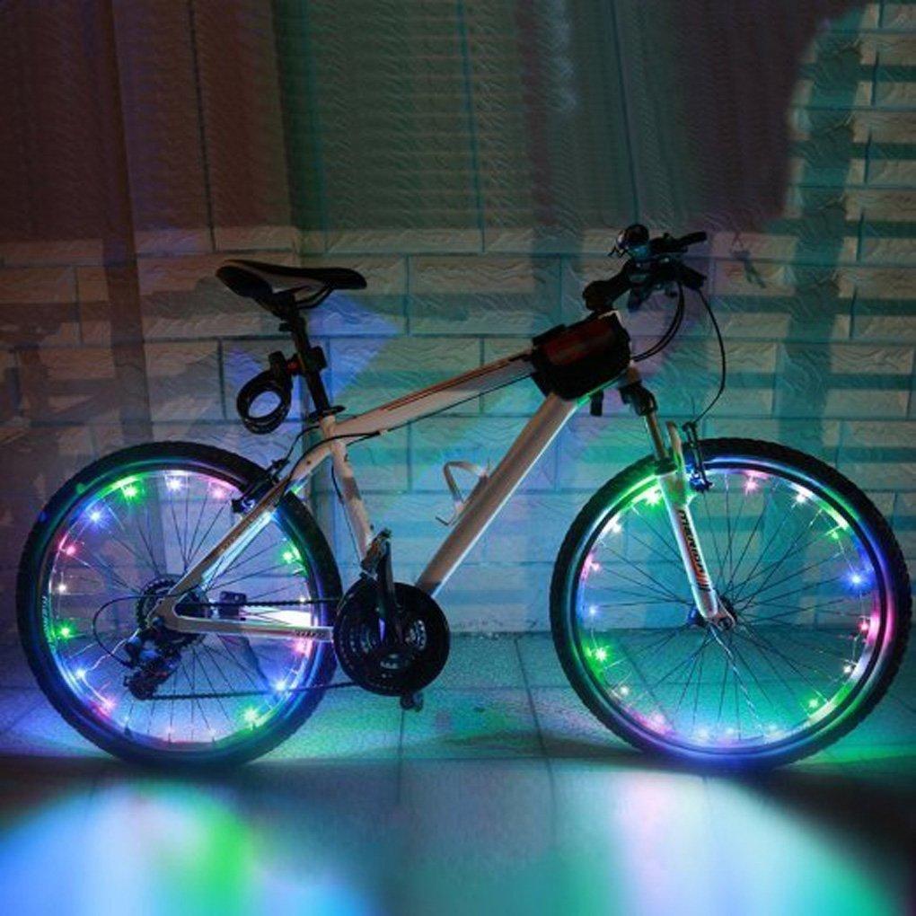 夜間の事故防止に!防水設計 自転車 LED ホイールライト イルミネーション センサーライト 20LEDフラッシュライトマルチ