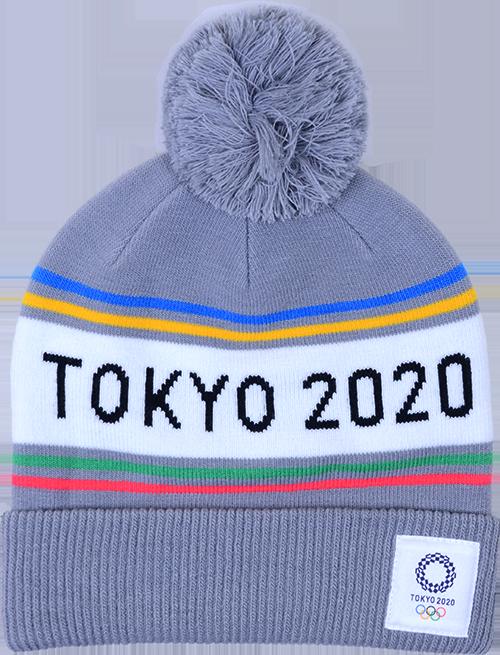 ジャガードポンポンニットワッチ(東京2020オリンピックエンブレム)グレー