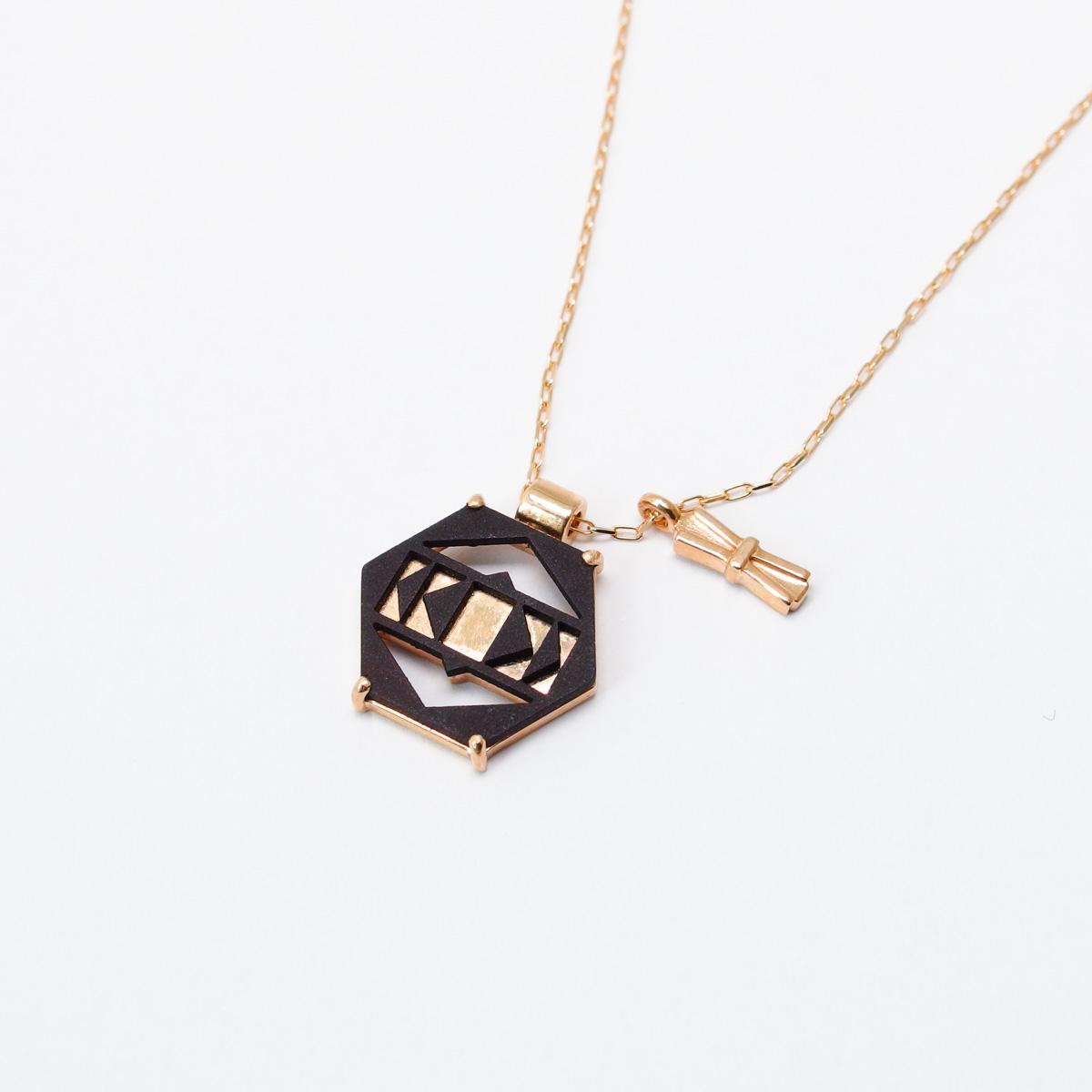 K10×鉄 ヘキサゴンネックレス