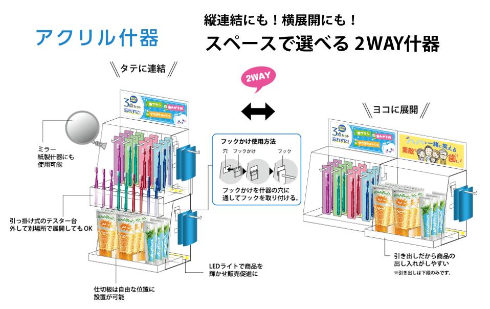 【CMKキット単品販売】アクリル什器2台*スペースに合わせて選べる3サイズ*毎月使える専用POP12枚