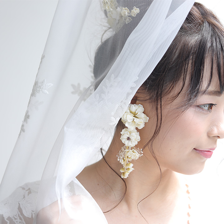 【me-florist】スズラン&かすみ草 イヤリング[fa003]