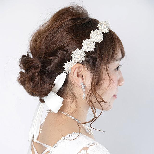 【3WAY】パールヘッドドレス/サッシュベルト/ネックレス [ha009]