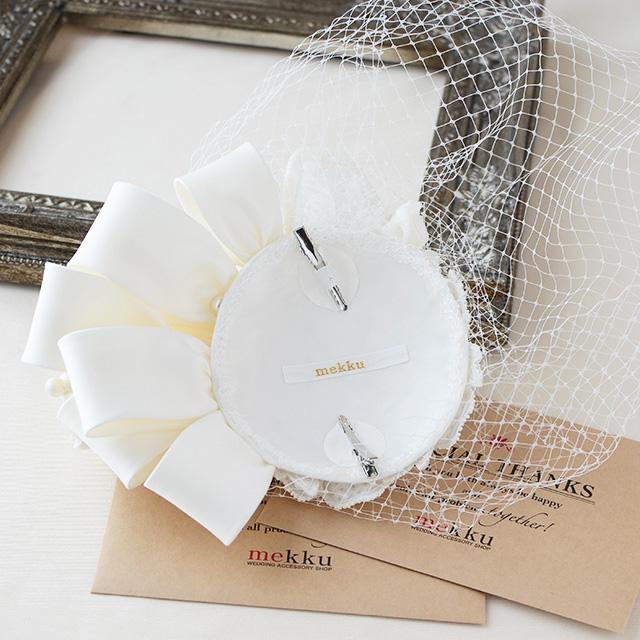 チュールフラワーヘッドドレス・ハット/ホワイト[ha003]