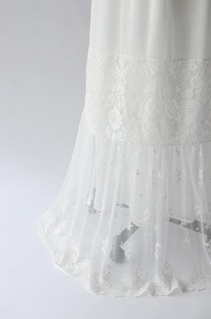 【即納】レース切り替えVネックウェディングドレス[ds003]