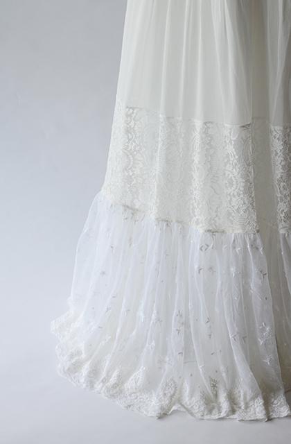 【即納】レース切り替えキャミウェディングドレス[ds004]