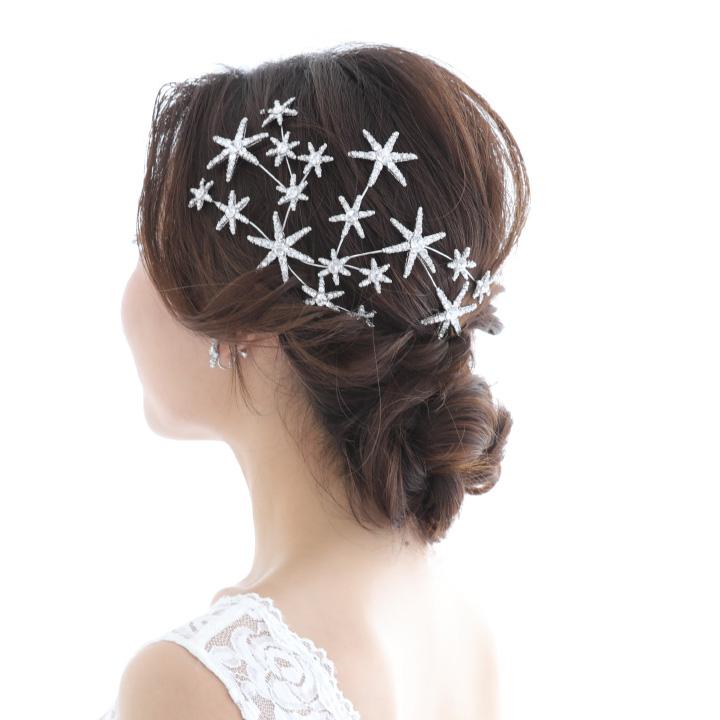 【2点SET】星型ビジューのヘッドドレス&イヤリング/シルバー[ha232]