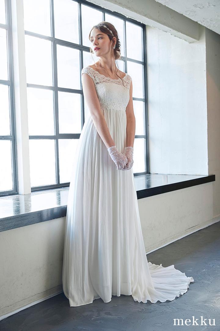 【即納】レースと楊柳のウェディングドレス[ds009]