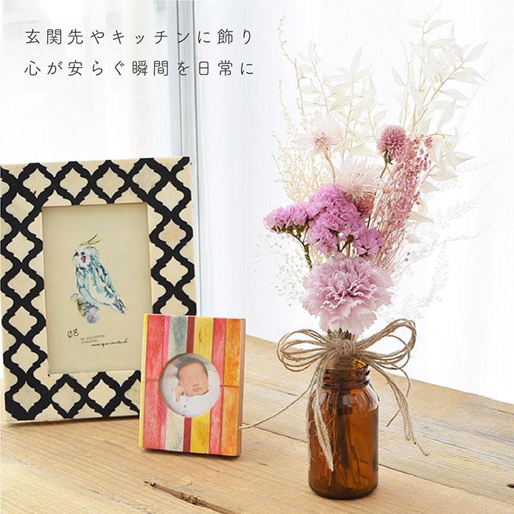 【即納】フラワーギフト/ドライフラワーと造花のスワッグ・ミニブーケ/カーネーション ピンク/プリザーブドフラワー[fw016]