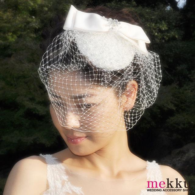 チュール付き リボンヘッドドレス・ハット トーク帽[ha077]