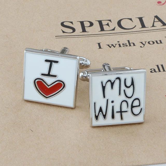 新郎用 メンズ ロゴカフス/I love my wife[ot188]