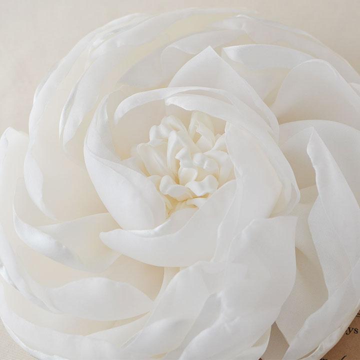 サテン フラワーヘッドドレス/ホワイト[ha002]