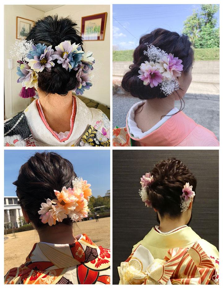 【全3色】マーガレット かすみ草の髪飾り/パープル・ブルー・オレンジ[fc071]