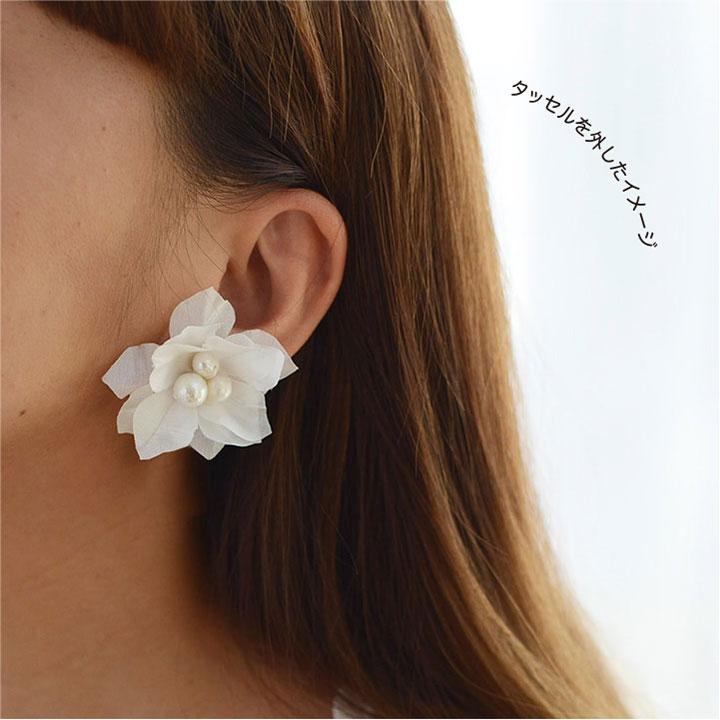 【flowerpetal/ajisai】2WAY/紫陽花のタッセルイヤリング・ピアス[ac172]