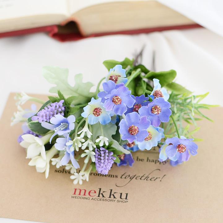 【NEW】紫陽花 かすみ草 ヘッドドレス/ブルー 青/造花とプリザーブドフラワーの髪飾り[fc260bu]