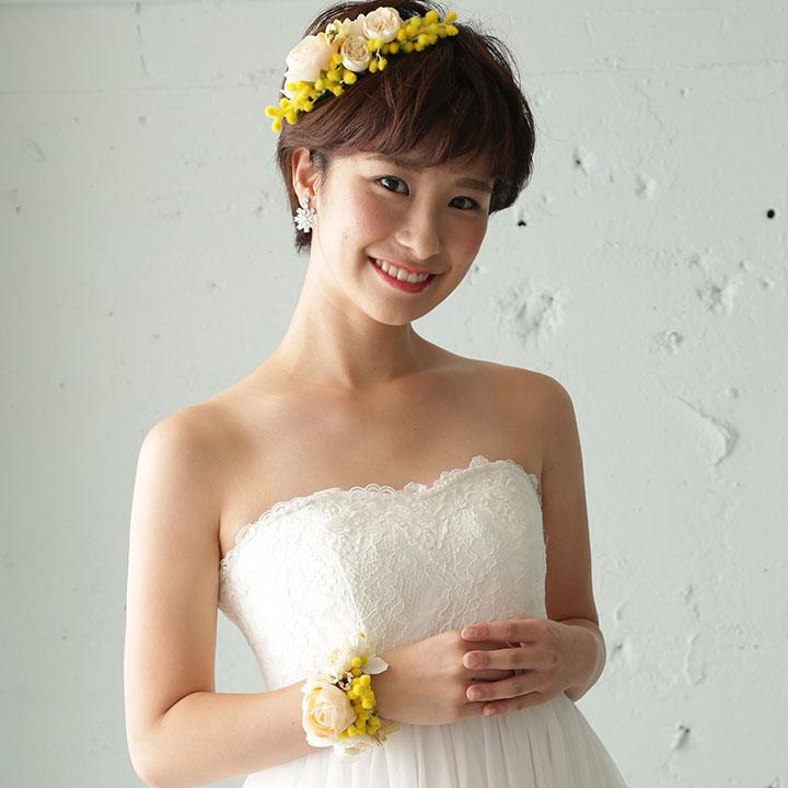 【2点SET】髪飾り&リストブーケ/ミモザ・イエロー[fc163]