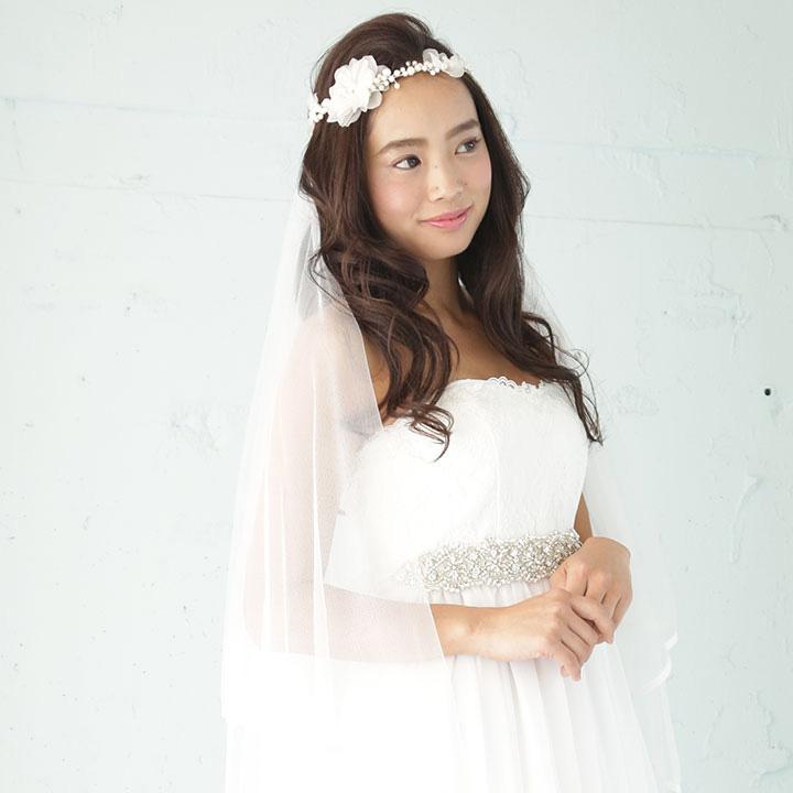 【2way】小枝パールフラワー リボン カチューシャ・花冠[ha182]