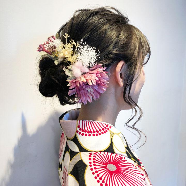 ラグラス ガーベラ かすみ草の髪飾り/ピンク・紫/造花 プリザーブドフラワー[fa022]