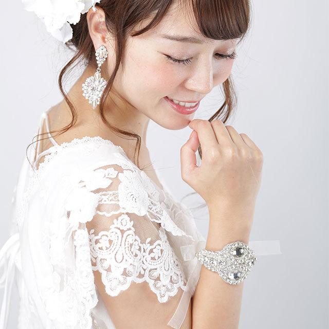 【ブレスレット】ビジュー 刺繍 リボン[ac069]