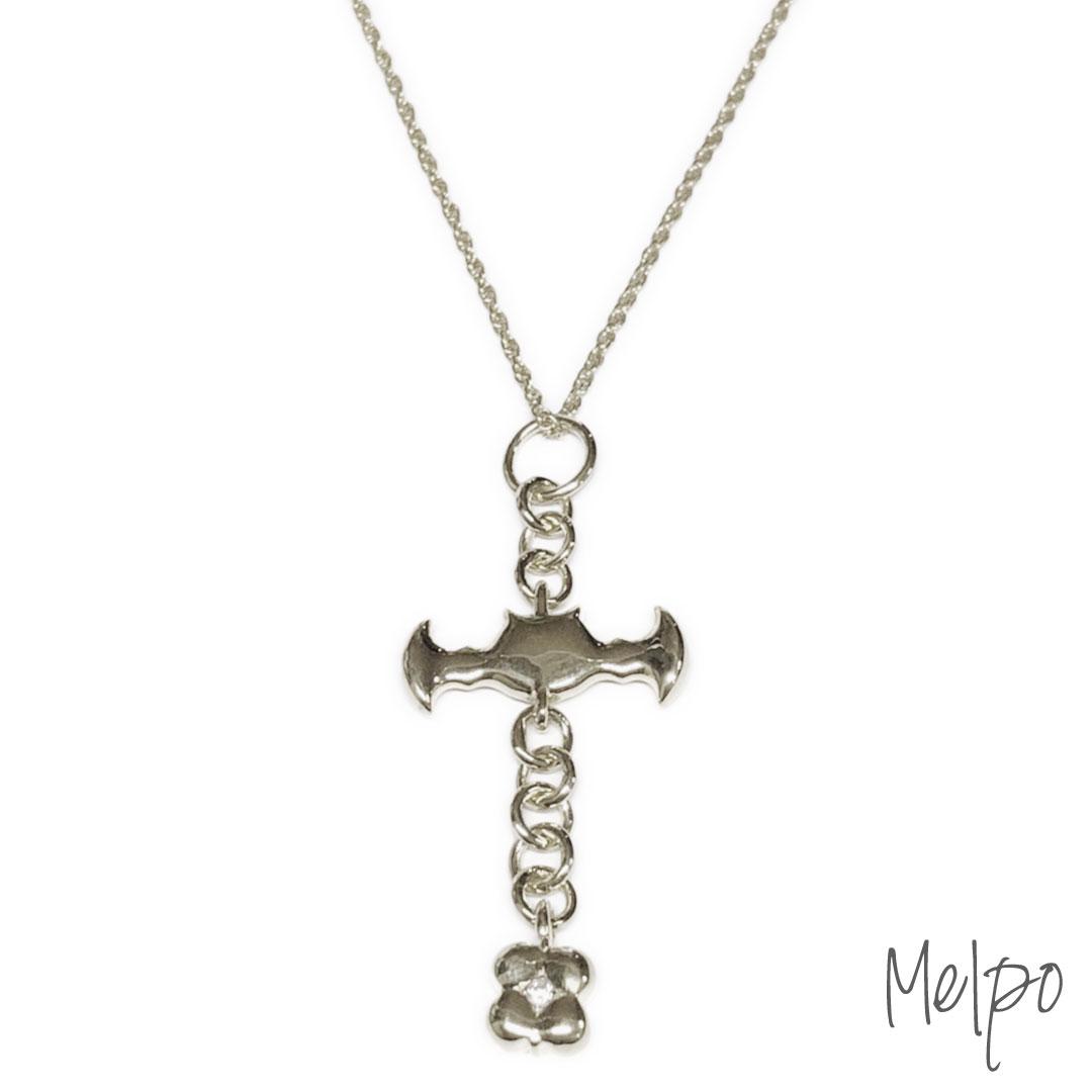 Bat Cross Necklace Silver