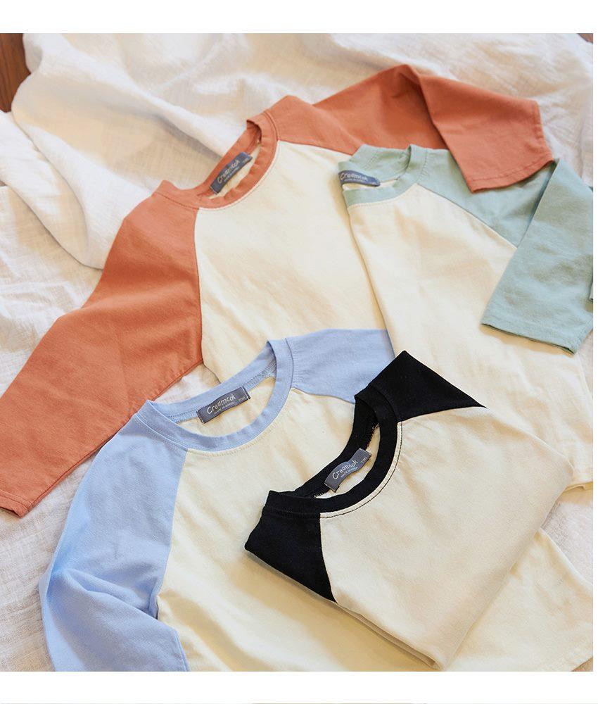 [90cm-140cm]コットンラグランTシャツ