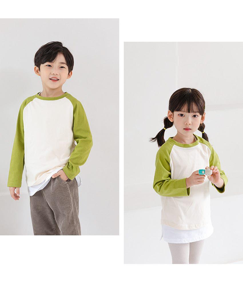 [90cm-135cm]ラグラン配色Tシャツ